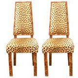 Pair of Original Leopard Print James Mont Chairs