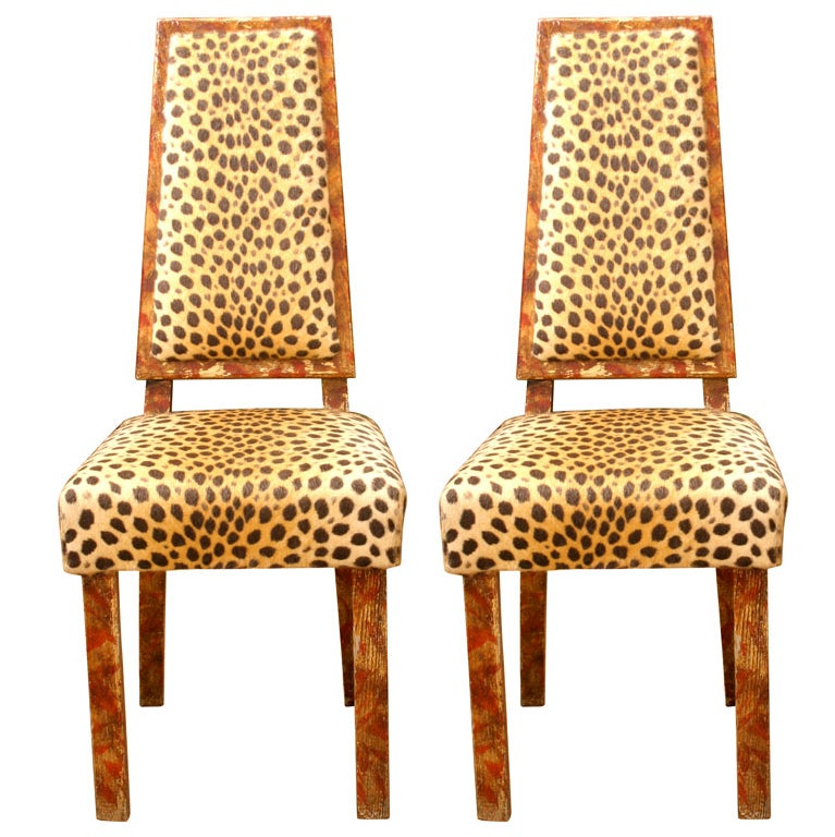 pair of original leopard print james mont chairs at 1stdibs