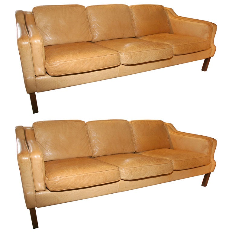 Pair Of Leather Mid Century Leather Sofas At 1stdibs