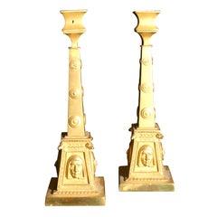 Pair of Gilt Bronze Egyptian Revival Candlesticks