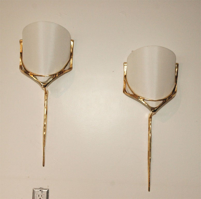 Gold Wall Sconces With Shades : Pair of Gold Agostini Wall Sconces with Curved Shades at 1stdibs