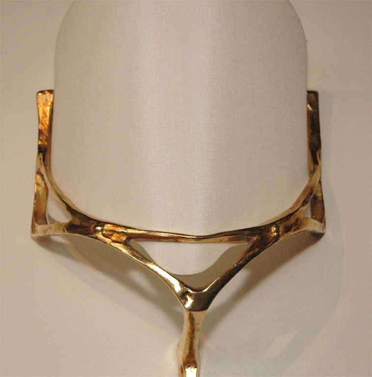 Pair of Gold Agostini Wall Sconces with Curved Shades at 1stdibs