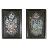 Pair of Etched Mirrors with Inset Portraits