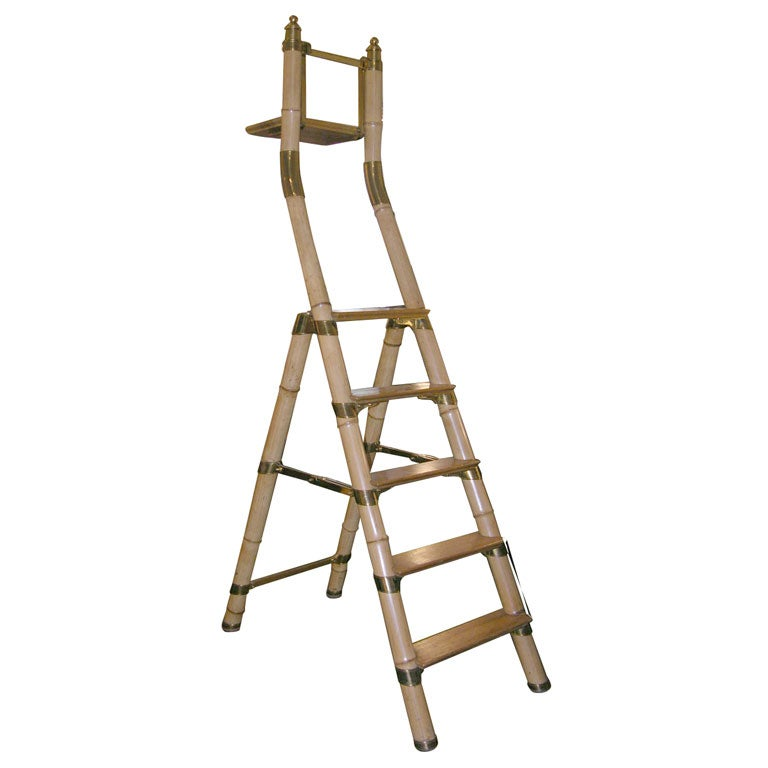 Bamboo Library Ladder at 1stdibs