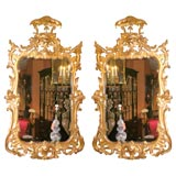 Pair of George II Rococo Giltwood Mirrors, 19th century