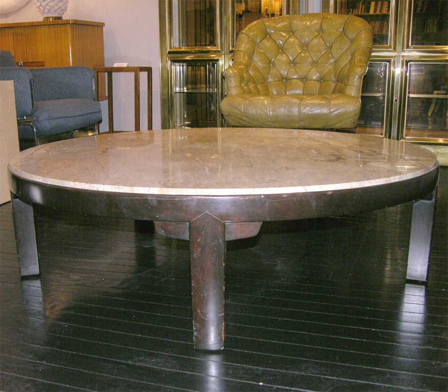 American Coffee Table with Portuguese Marble Top by Edward Wormley For Sale