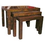 Beautiful Milo Baughman Burl Nesting Tables