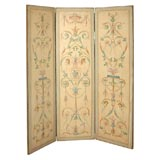 18th c. Style Handpainted French or Italian Three-Panel Screen