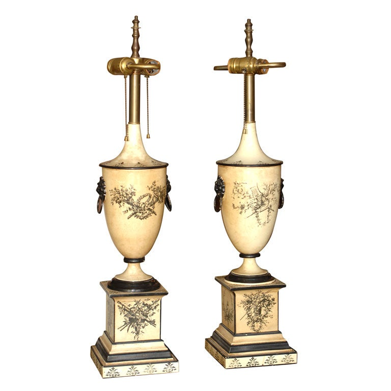 Pair of 18th Century Style Italian Tole Painted Lamps