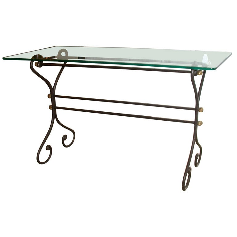 Wrought iron console table with glass top at 1stdibs for Metal console tables glass top