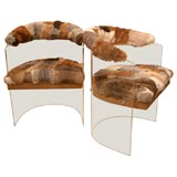 Furry, Fun Pair of 70's Rabbit-Upholstered Lucite Chairs