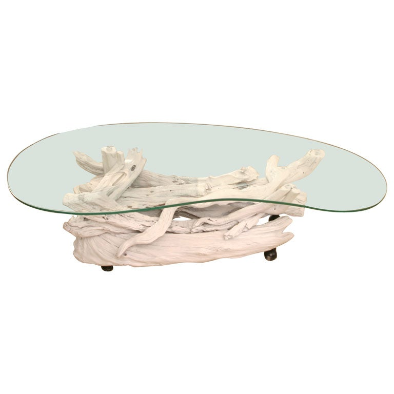 Vintage gloss white driftwood table at 1stdibs for White driftwood coffee table