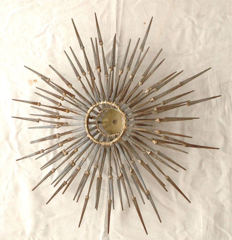 Wrought iron sunburst wall sculpture by marc weinstein at for Sunburst wall art