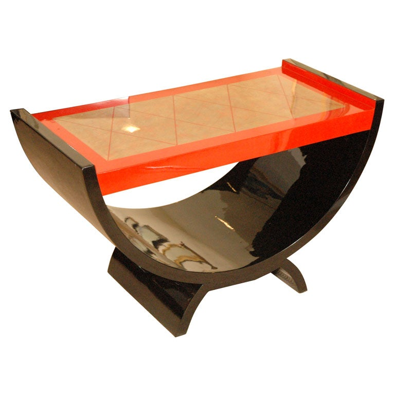 Black And Red Lacquer Coffee Table At 1stdibs