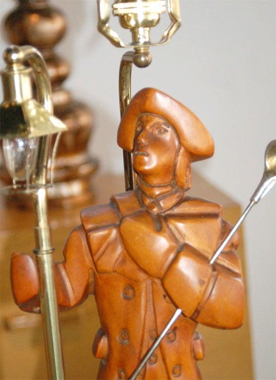 Pair carved wood folk figural lamps at stdibs