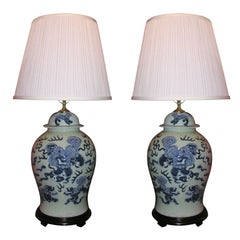 Pair of Blue and White Temple Jars Lamps