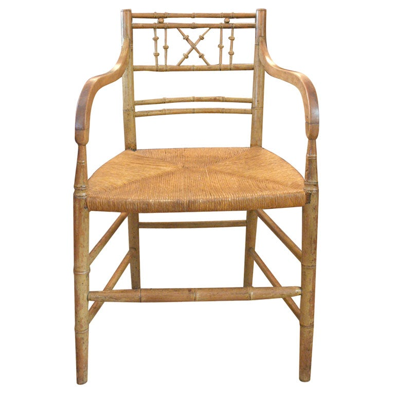 Bamboo Chair With Arms: Faux Bamboo Arm Chair At 1stdibs