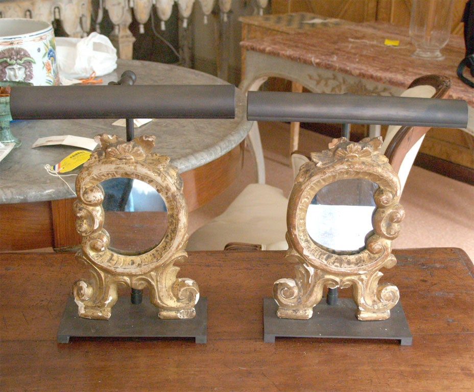 Miniature Louis XV Mirrors Mounted on Bronze Bases and with Picture Lights 2