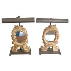 Miniature Louis XV Mirrors Mounted on Bronze Bases and with Picture Lights