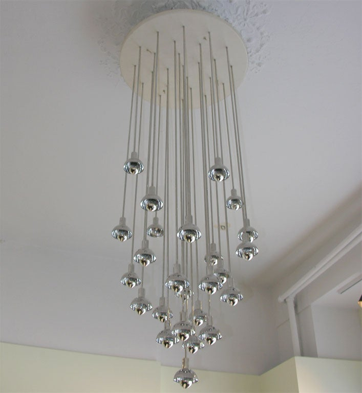 Chrome and Plastic Multi-Branch Silver Chandelier 2
