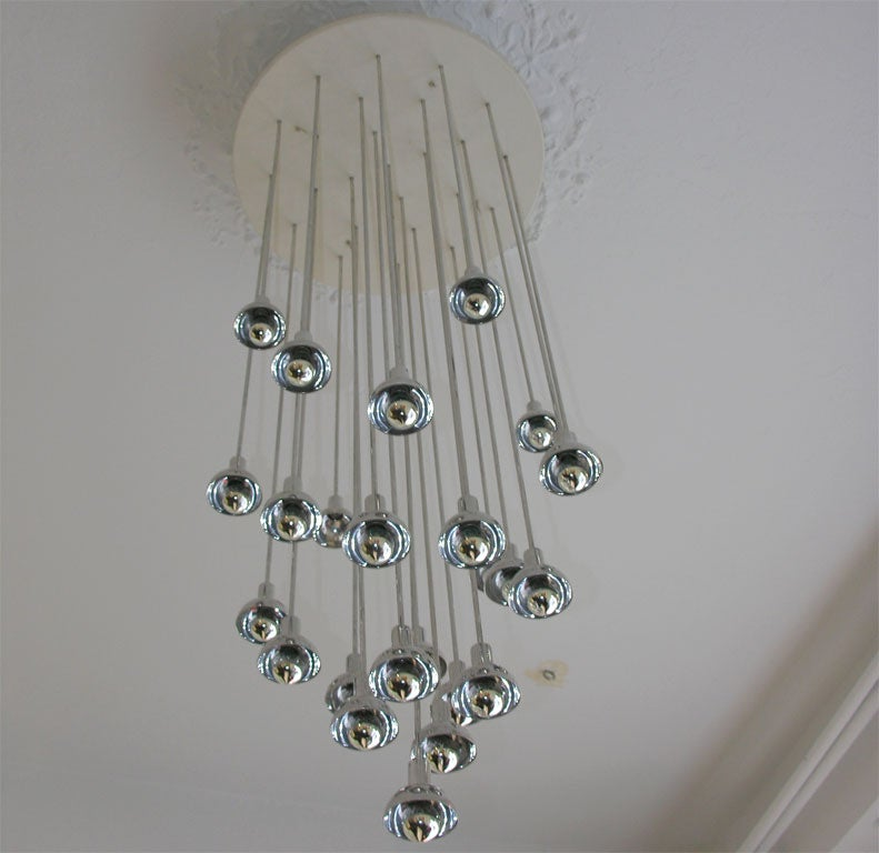 Chrome and Plastic Multi-Branch Silver Chandelier 3
