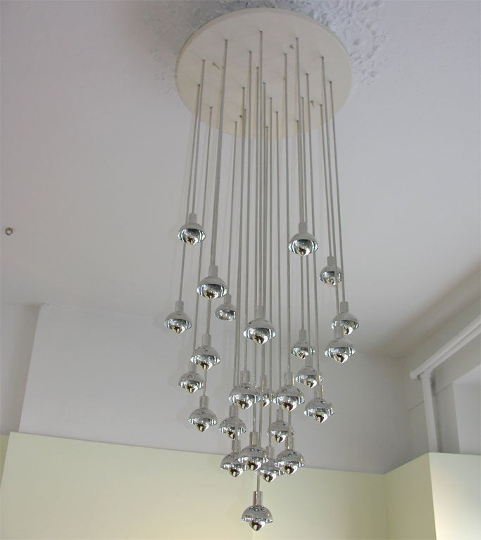Chrome and Plastic Multi-Branch Silver Chandelier 4