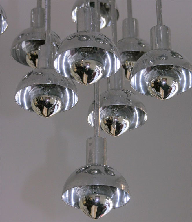 Chrome and Plastic Multi-Branch Silver Chandelier 6