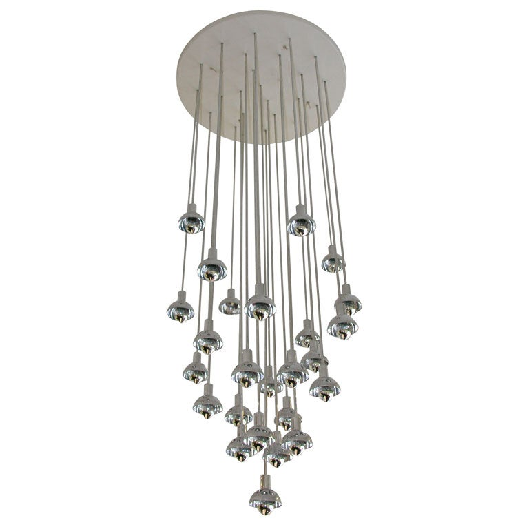 Chrome and Plastic Multi-Branch Silver Chandelier 1