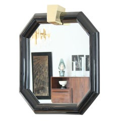 Black Lacquer Mirror in the Style of Karl Springer