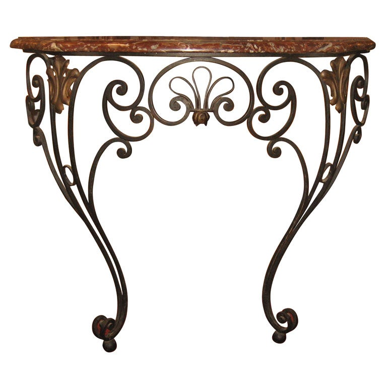 1940s wrought iron and marble console table at 1stdibs for Wrought iron sofa table base