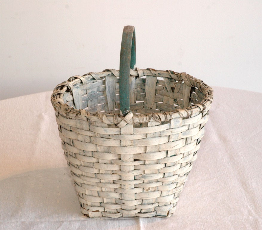 19thc Original White Painted Basket With A Blue Painted