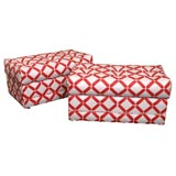 Hot Plush Pair of Faux Cane Trellis Upholstered Benches