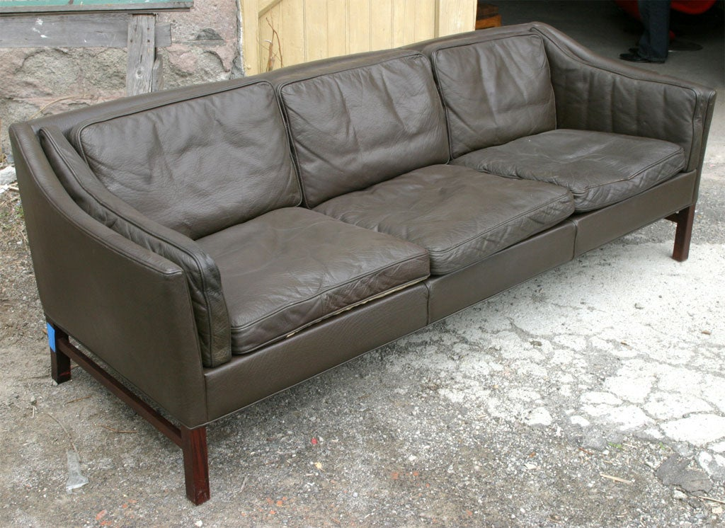 Charcoal Grey Leather Sofa At 1stdibs