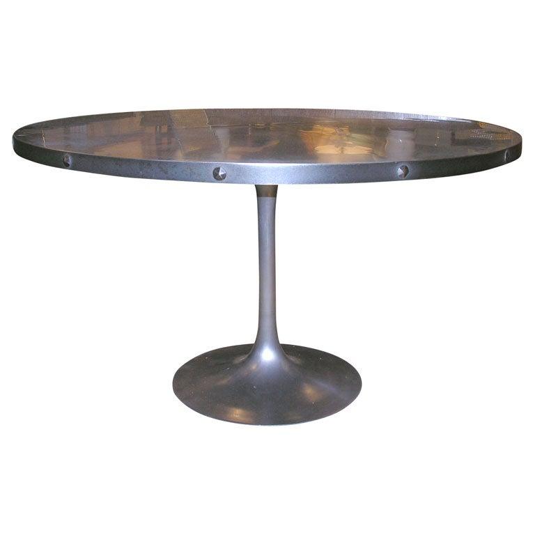 Zinc and steel dining table with knoll base at 1stdibs : x from 1stdibs.com size 768 x 768 jpeg 25kB