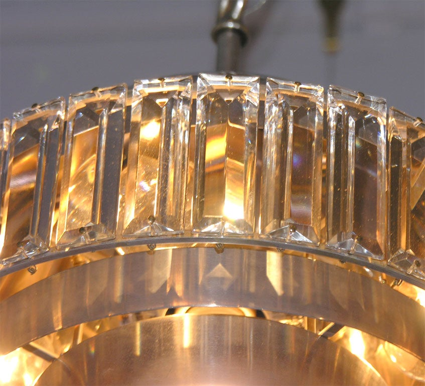 Chandelier In Nickel With Crystal Decoration All Around At
