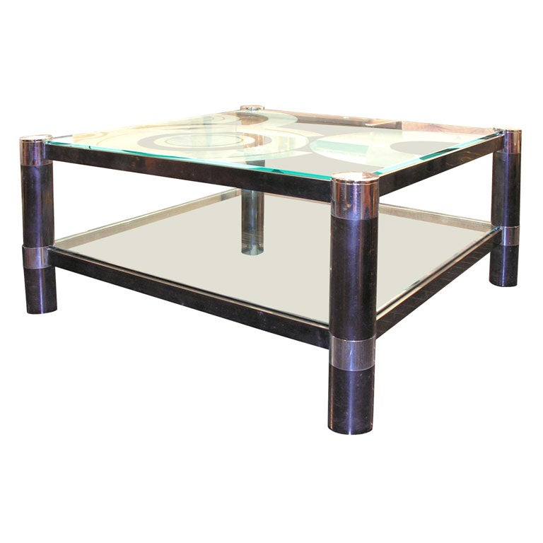 Round Leg 2 Tier Coffee Table By Karl Springer Signed At 1stdibs