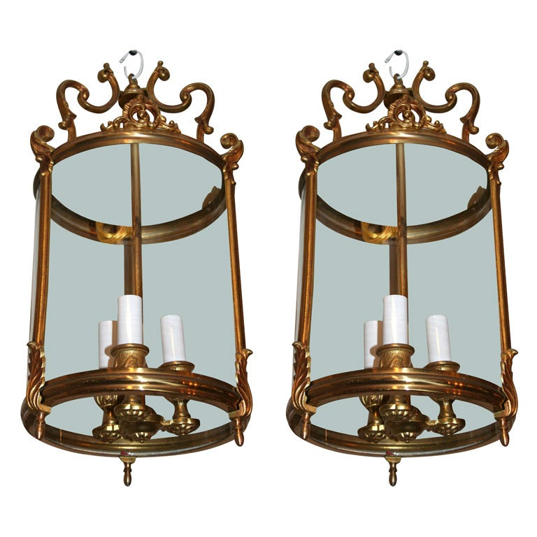 A Pair Of French Bronze Hall Lanterns At 1stdibs