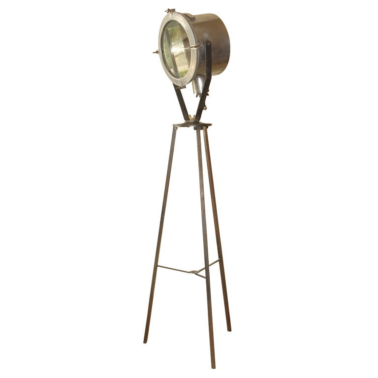 French industrial design brushed steel and cast iron for Orbit michael metal floor lamp brushed steel
