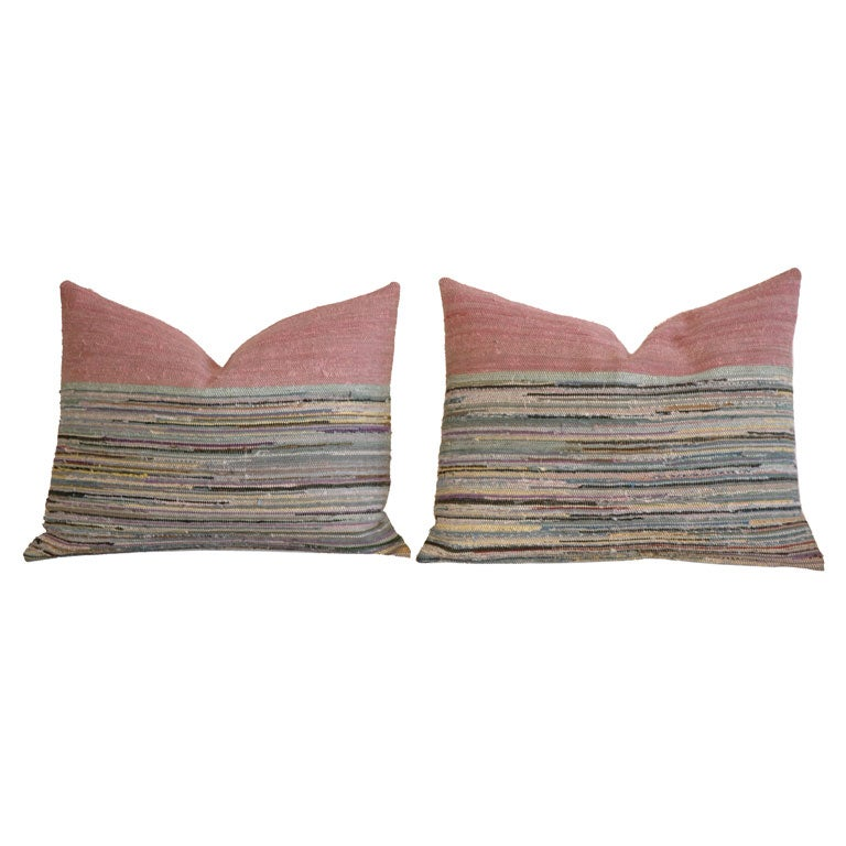 Pair Of 1930 S Rag Rug Pillows With Multi Color Border At