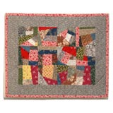 CONTEMPORARY    SMALL  CRAZY DOLL QUILT MOUNTED