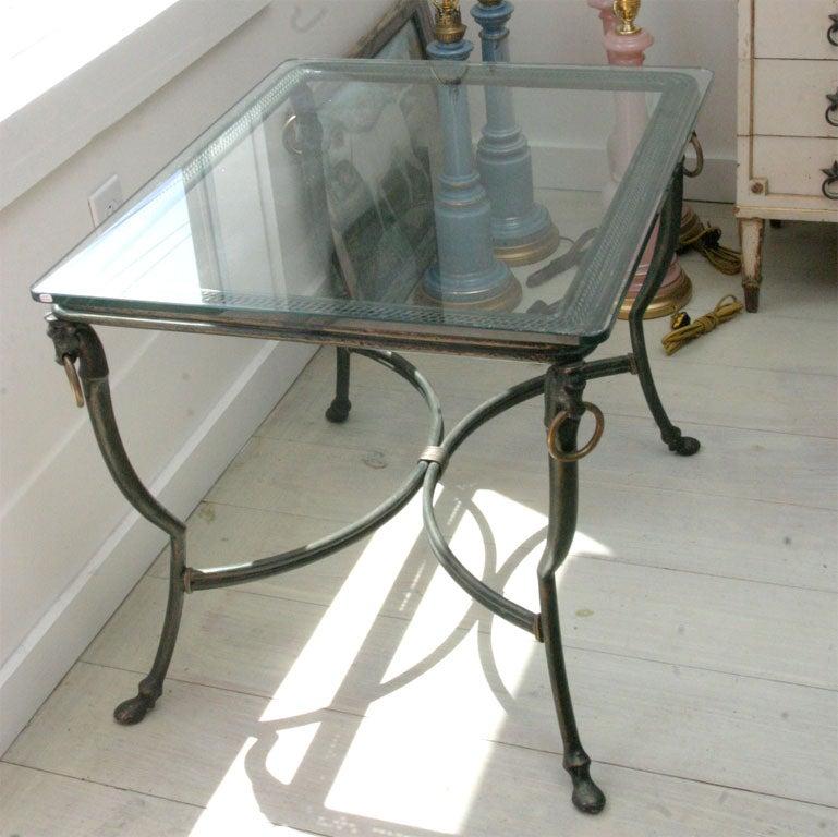 Nail Marble Top Coffee Table: Dark Green Steel Coffee Table At 1stdibs