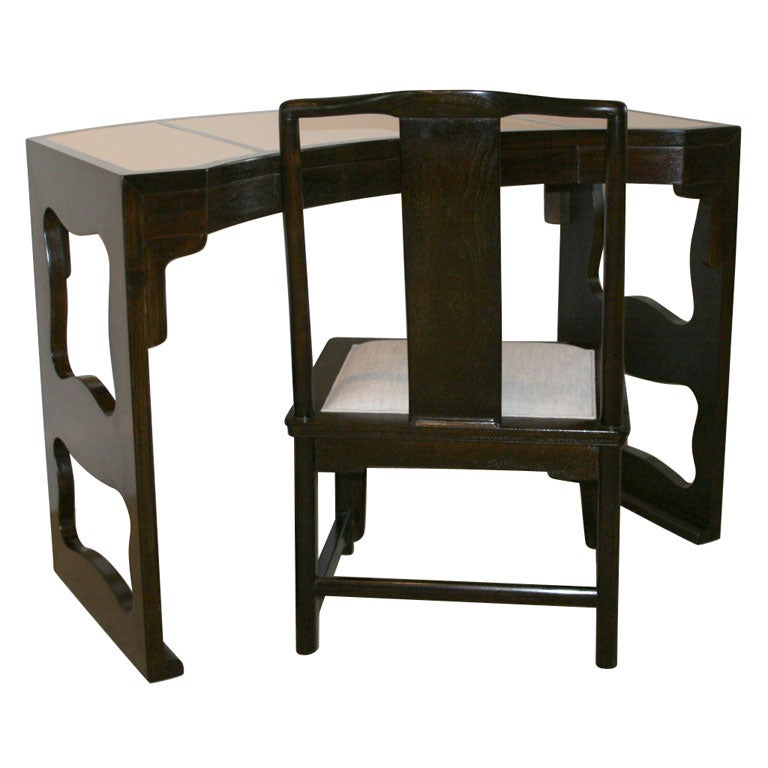 A baker carved chinese style desk and chair at 1stdibs for Oriental style desk