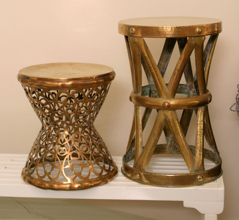 Pair Of Brass Garden Stools At 1stdibs