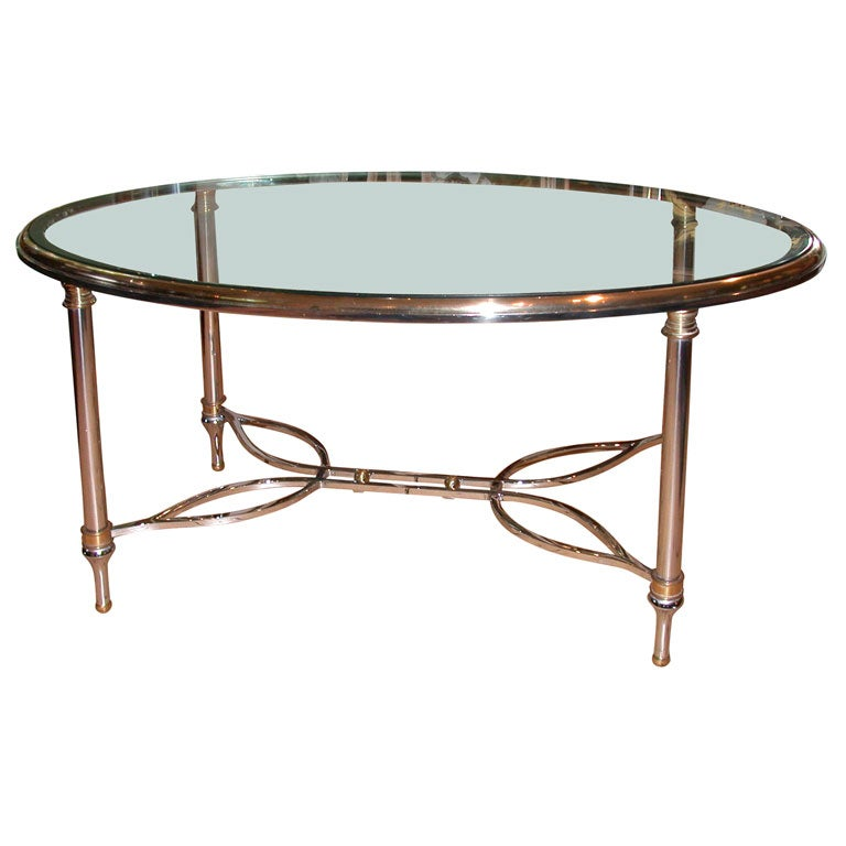 Nickel And Brass Oval Coffee Table At 1stdibs
