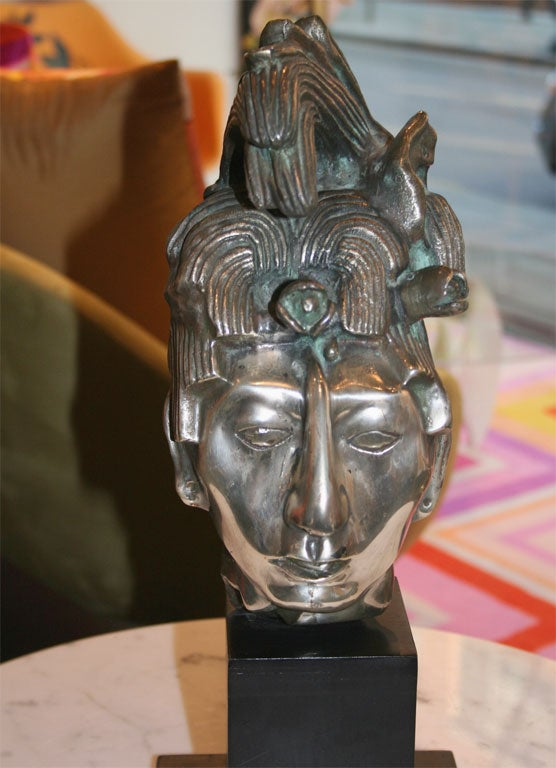 Silver Plated Mexican Aztec Sculpture At 1stdibs