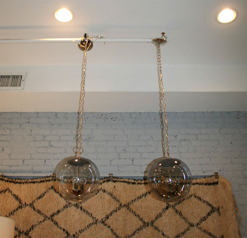 Hanging Smoked Glass and Nickel Globe Pendant Light Fixture at 1stdibs