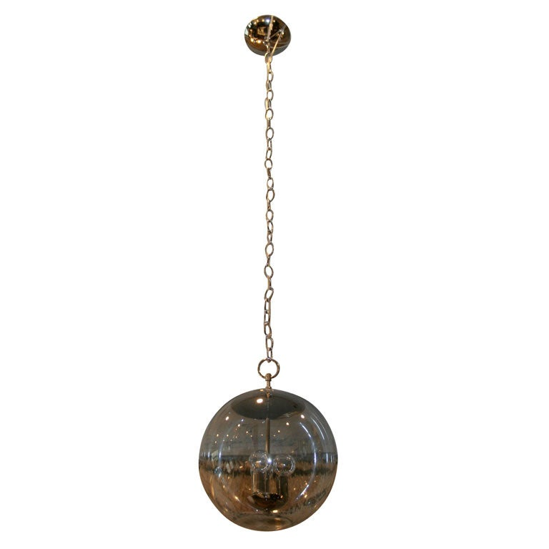 hanging smoked glass and nickel globe pendant light fixture at 1stdibs. Black Bedroom Furniture Sets. Home Design Ideas