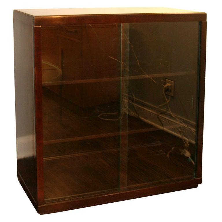 dark mahogany cabinet bookcase with sliding glass doors at 1stdibs. Black Bedroom Furniture Sets. Home Design Ideas