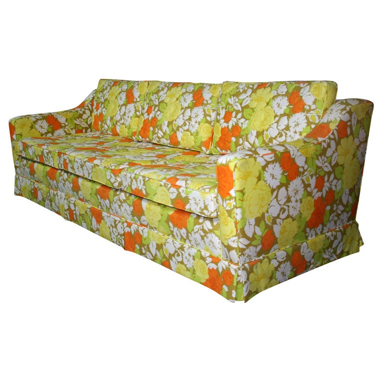 Palm Beach Sofa With Original Floral Cotton Upholstery At