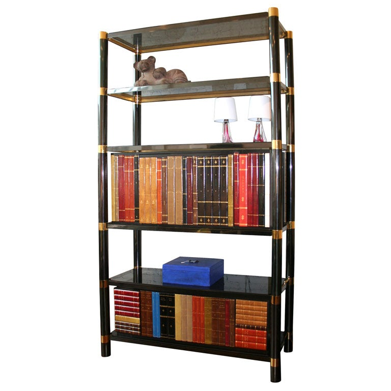 Brass and black nickel etag re by karl springer at 1stdibs - Etagere cases carrees ...